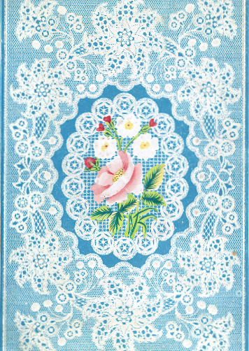 This is a free antique image of blue lace and roses for Mothers Day