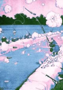 This is a free vintage color illustration of William Heath Robinson's Some Frightful war pictures