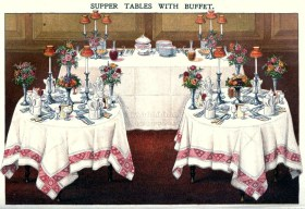 A vintage illustration of an elegant buffet setting from Mrs. Beeton's 1907 publication.