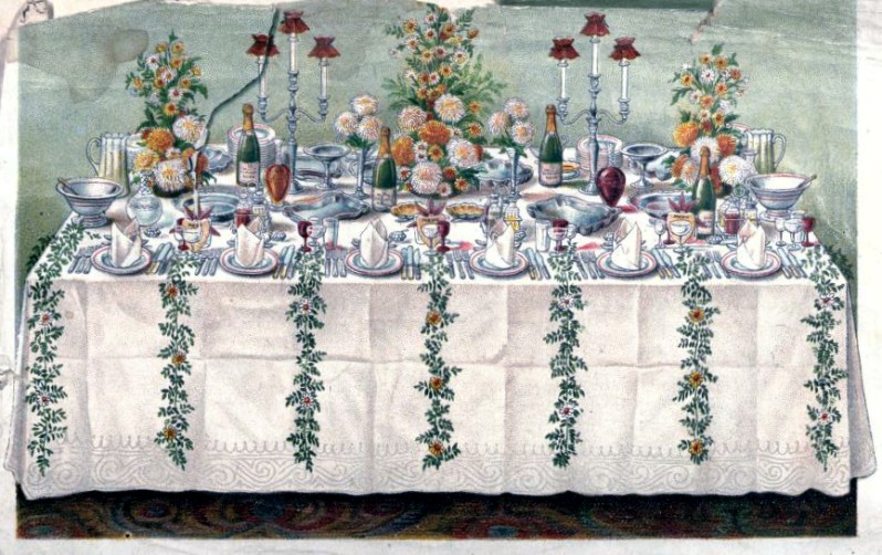 vintage illustration of antique table setting