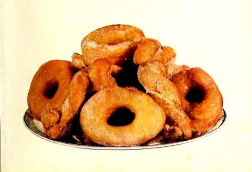 Vintage illustration of doughnuts sprinkled with sugar