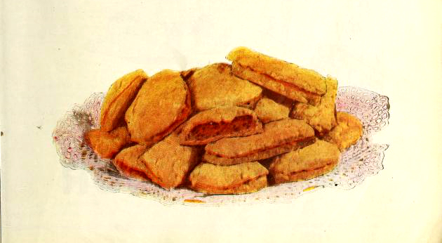 Meat pie illustration from a vintage baking cookbook