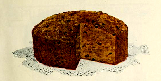 A vintage cookbook illustration of a classic sponge cake