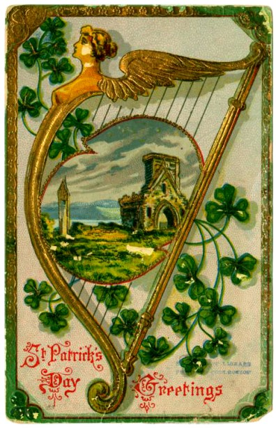 Free vintage st. patty's day postcard with harp
