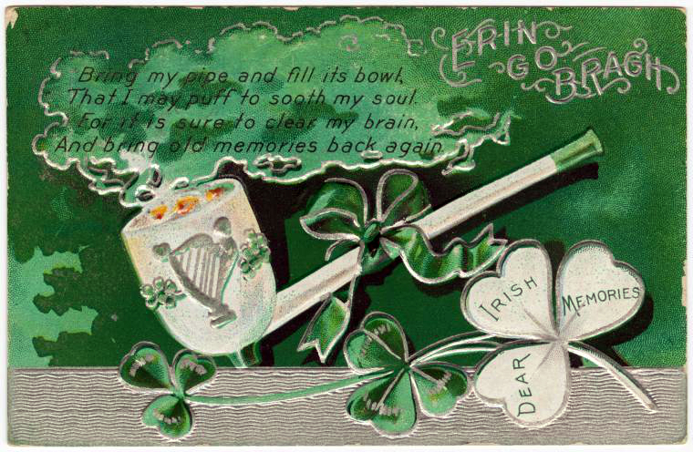 Vintage St. Patty's Day Postcard with Pipe
