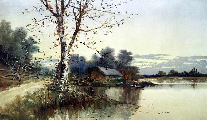 A 19th century fall illustration of a house on a lake in autumn - public domain