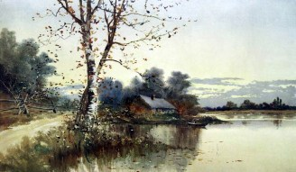House on a Lake in Autumn - 19th Century Fall Illustration
