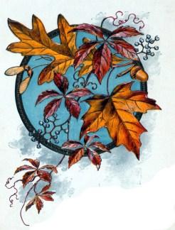 fall leaves illustration dinner party menu 19th century public domain