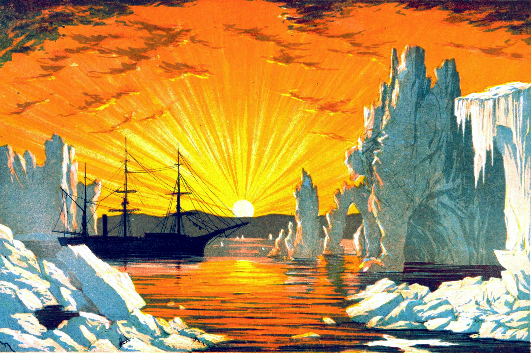 19th Century glacier and iceberg illustration with bright sunset. A free public domain image.