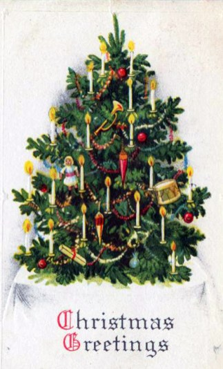 free vintage christmas cards with decorated tree