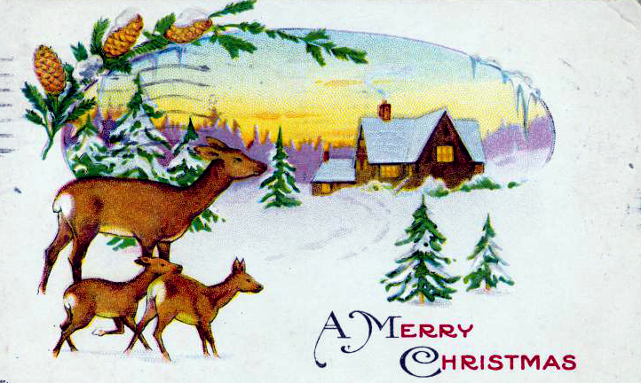 public domain vintage christmas cards with xmas deer