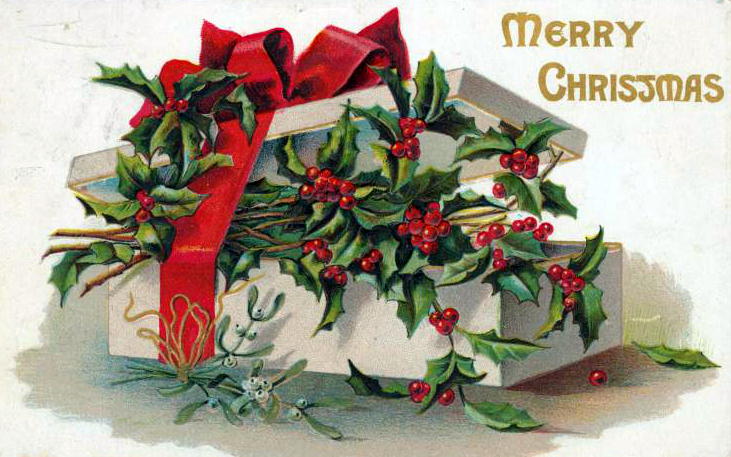 public domain vintage christmas cards with holly gift box