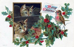 free vintage christmas cards with kittens and birds