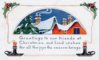 free vintage christmas cards with snowtops and candles