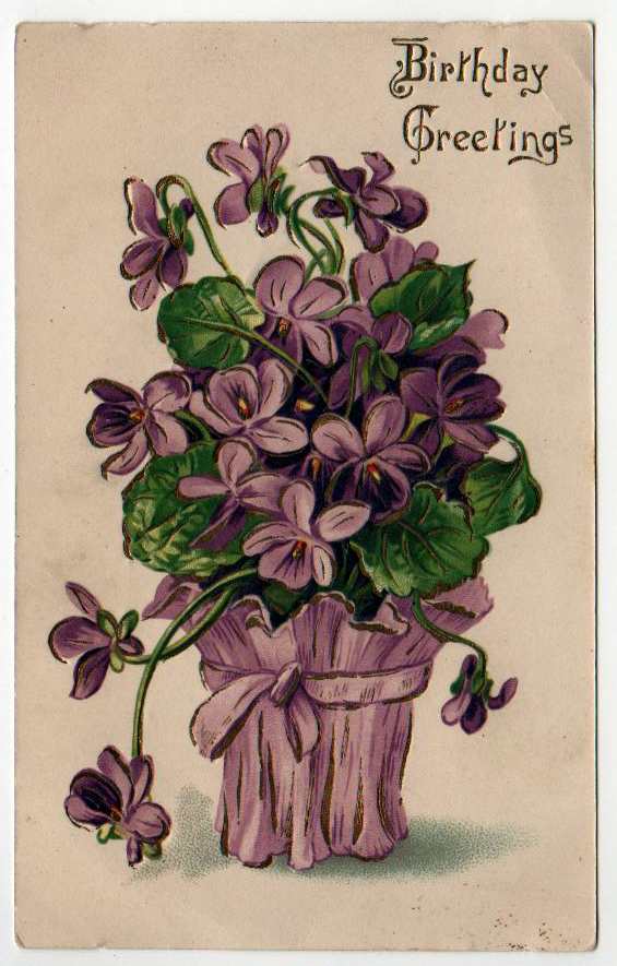 vintage birthday cards with purple flower basket - free to use