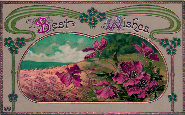 Vintage Birthday cards with flowers and scenery - free to use