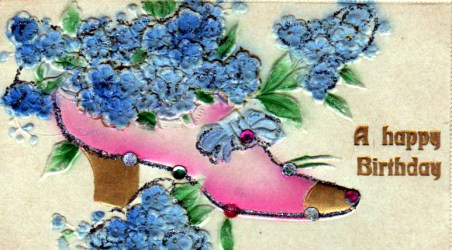 Vintage birthday cards with shoe glitter flowers
