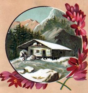 winter illustrations snow cabin 19th century trading card