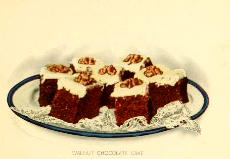 Free vintage chocolate cake dessert illustrations from the public domain