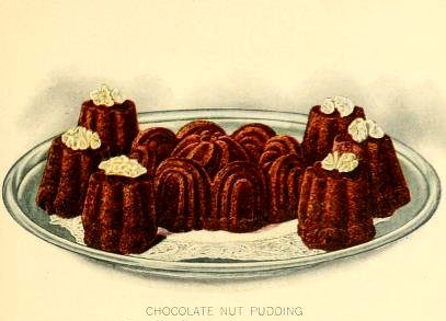 Chocolate pudding dessert illustrations from early 20th century