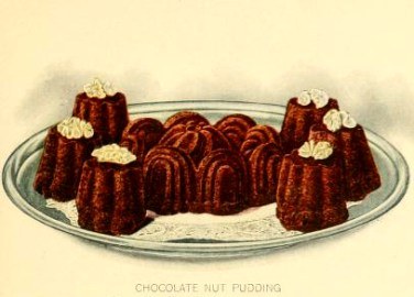 chocolate nut pudding dessert illustrations early 20th century public domain