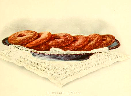 Free vintage dessert illustrations of chocolate ring cookies