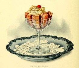Chocolate trifle dessert illustrations in the public domain