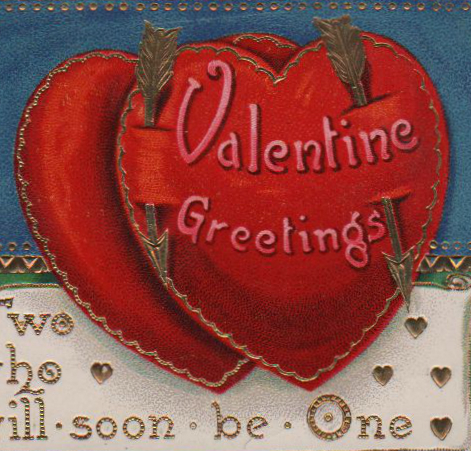 Free Valentine's day pictures - illustration of two vintage hearts