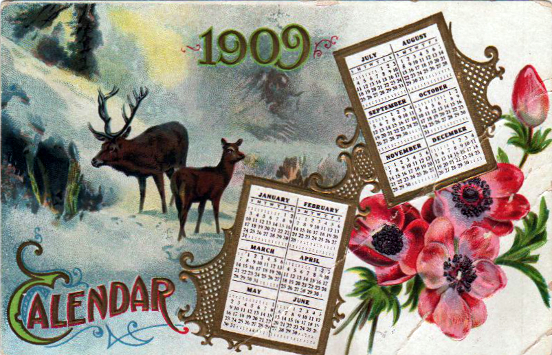 Vintage nature illustrations of moose deer calendar