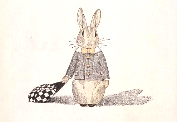 """Free bunny illustration with racing hat. From the 1912 public domain children's book, 'Nixie in Manners-land."""""""