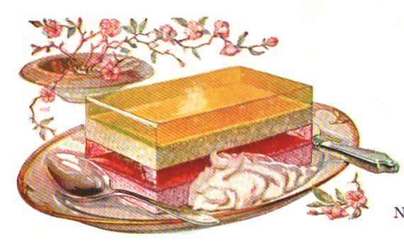 A beautiful illustration of a luscious Neapolitan jello dessert. From a vintage jello cookbook.