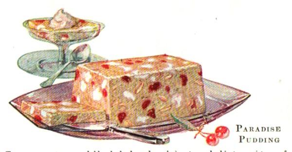 A vintage jello cookbook illustration of paradise pudding