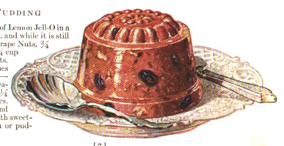 Plum pudding illustration from a vintage jello cookbook