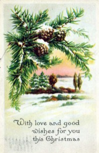 A free Christmas illustration from an early 20th-century greeting card with pine cones and snow.