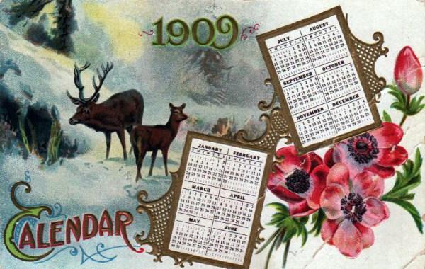An early 20th-century vintage reindeer calendar