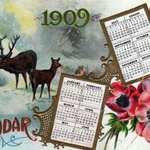An early 20th-century vintage reindeer calendar