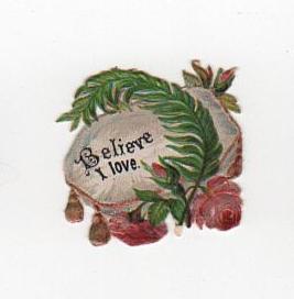 Believe valentine's day vintage die cut