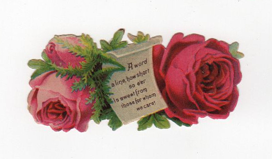 Vintage die cut of roses with love note