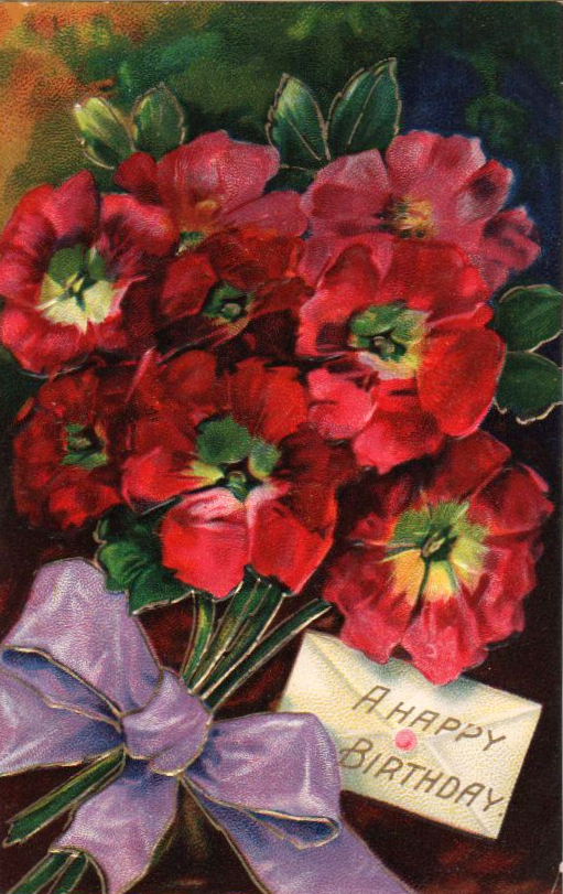Vintage birthday card with bouquet and note in public domain.