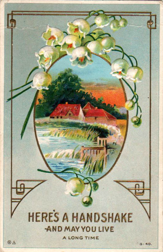 Vintage birthday card with countryside in public domain.