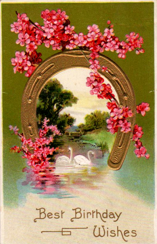 Vintage birthday card with horseshoe and pink flowers in the public domain.