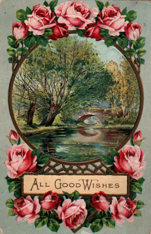 Vintage birthday card with roses and nature in public domain.