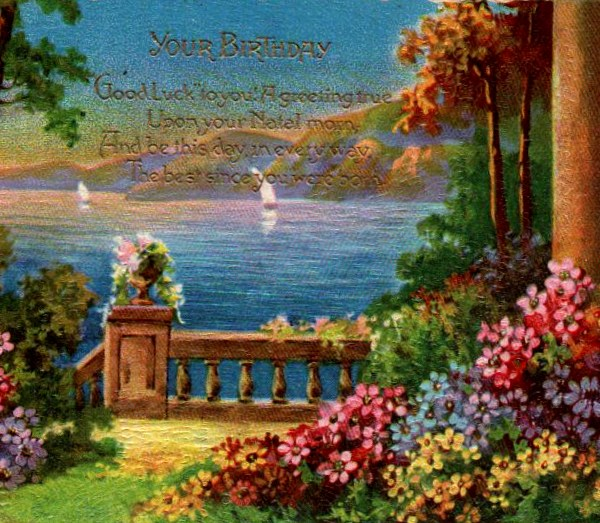 Vintage birthday card with garden in public domain.