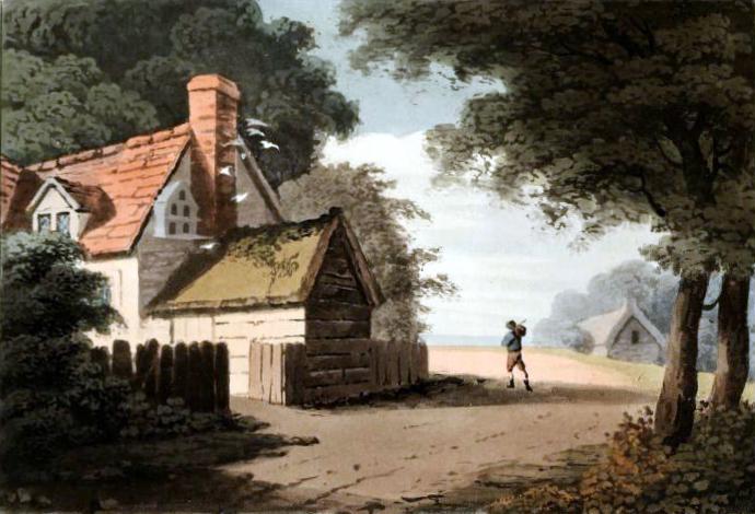 Free vintage landscape of an English cottage, public domain.