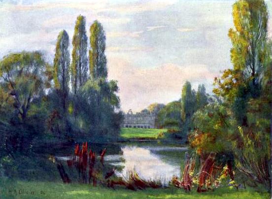 Free vintage landscape of a house on a lake, public domain.