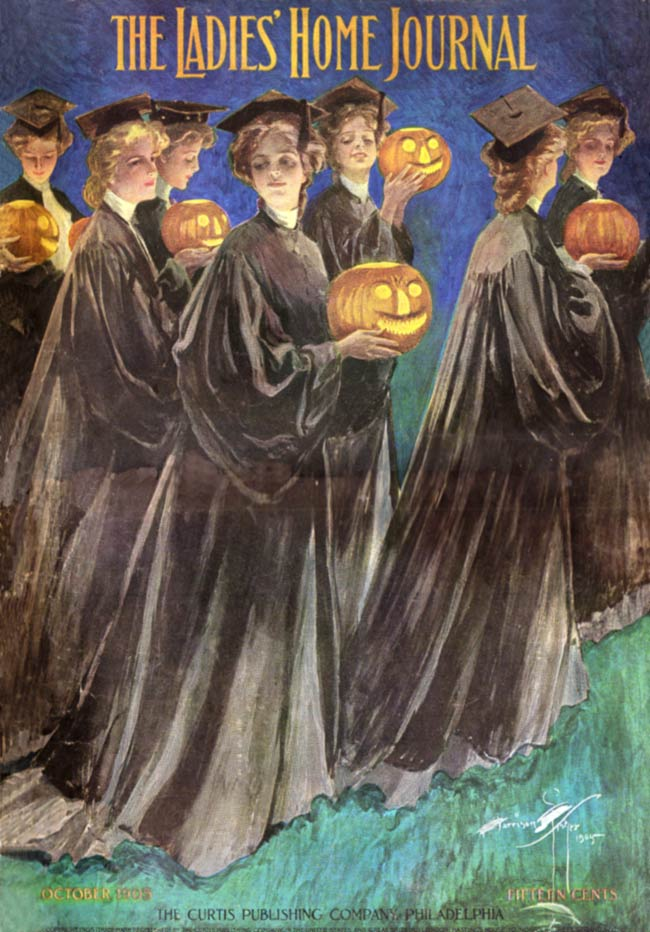 Women holding jack-o-laterns from 1905 Halloween cover of Ladies Home Journal