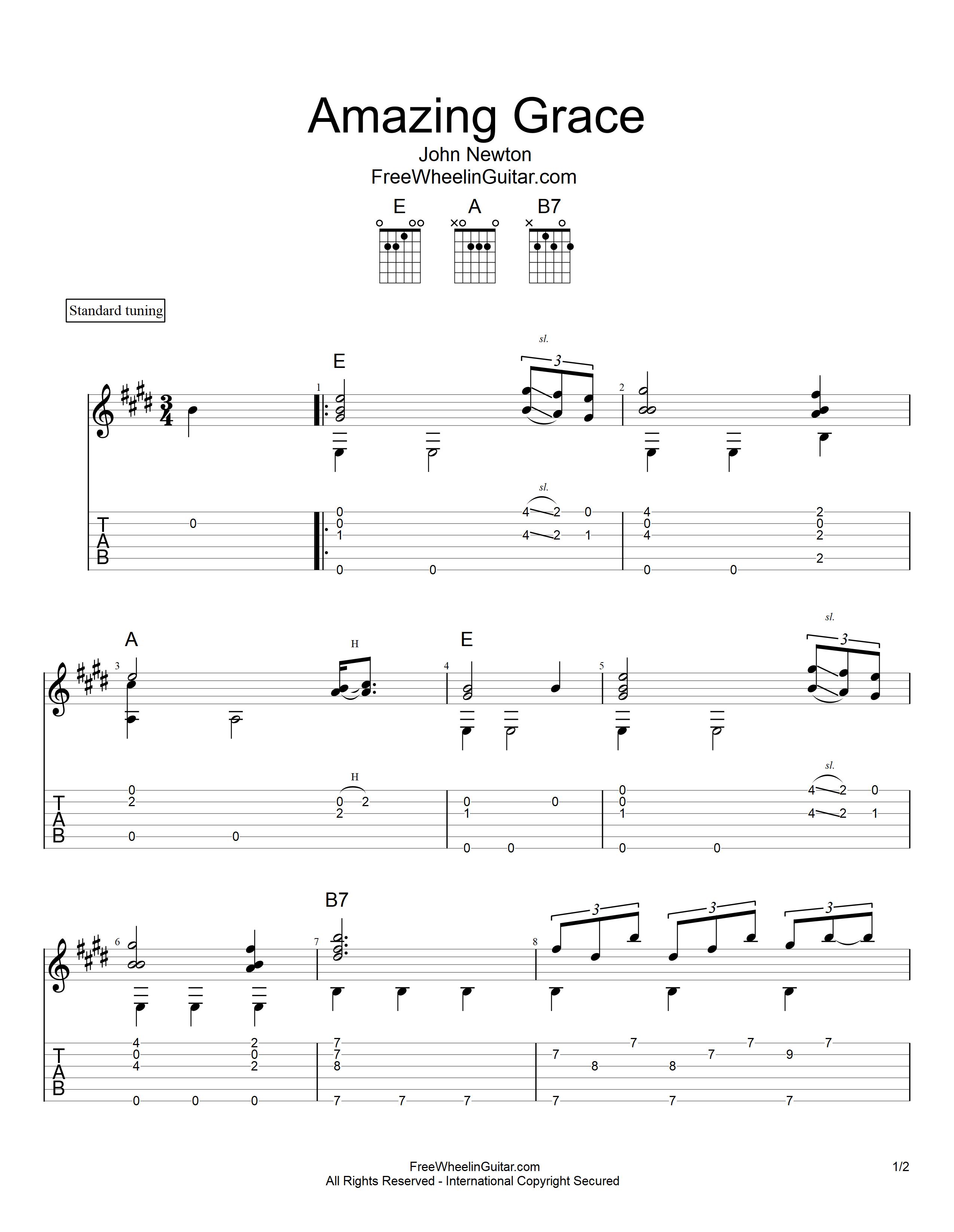 Amazing Grace - Tab & Sheet Music | FreeWheelinGuitar com