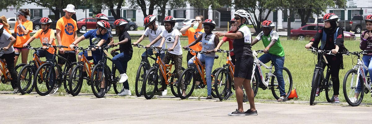 BikeHouston's Inge Ford led bike skills training.