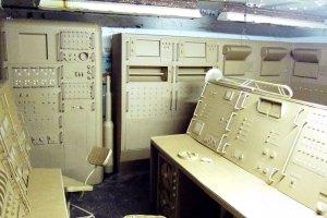 Replica control panel at rocket testing site