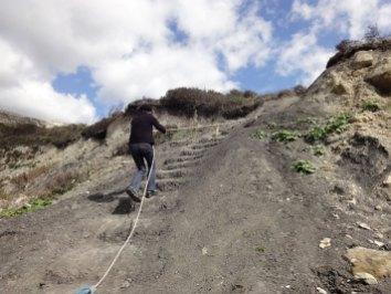 Climbing down to Rocken End